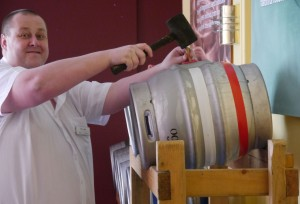 eddie tapping beer