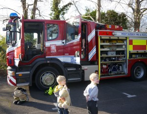 fire engine and kids