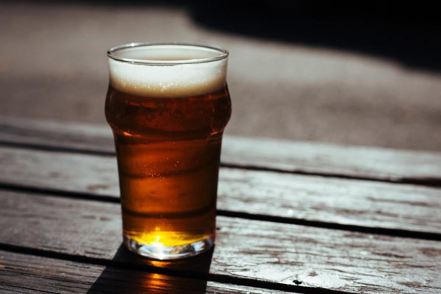Pint of beer in sunshine